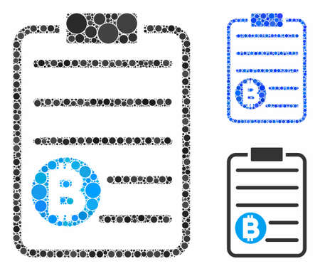 Bitcoin price list composition of filled circles in various sizes and color tints, based on Bitcoin price list icon. Vector dots are composed into blue composition.