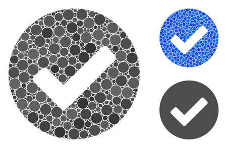 Yes tick composition of small circles in various sizes and color tones, based on yes tick icon. Vector random circles are grouped into blue composition.