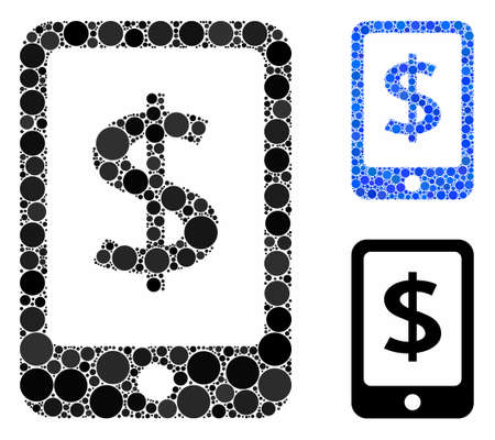 Mobile payment composition of circle elements in different sizes and color tones, based on mobile payment icon. Vector round dots are combined into blue composition.