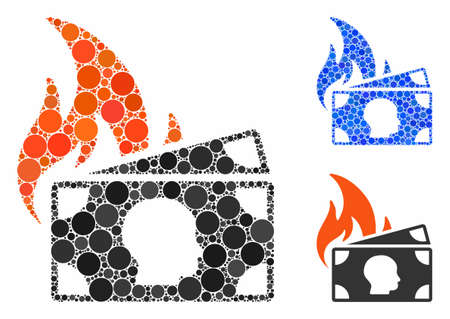 Banknotes fire disaster mosaic of filled circles in different sizes and shades, based on banknotes fire disaster icon. Vector filled circles are composed into blue illustration.