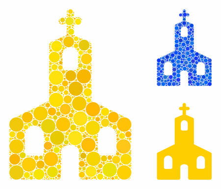 Christian church mosaic of small circles in various sizes and color tinges, based on Christian church icon. Vector filled circles are composed into blue mosaic. Ilustração