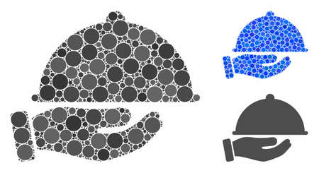 Service mosaic of small circles in variable sizes and color tones, based on service icon. Vector small circles are combined into blue mosaic. Dotted service icon in usual and blue versions.