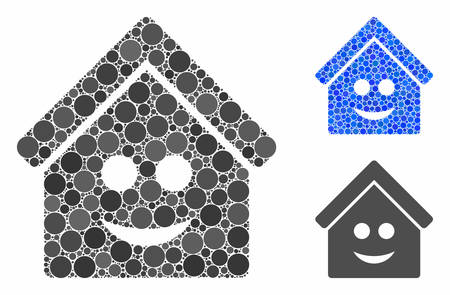 Smile home composition of round dots in variable sizes and color tones, based on smile home icon. Vector round elements are combined into blue composition.