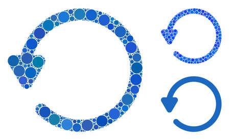 Rotate mosaic of round dots in various sizes and color hues, based on rotate icon. Vector dots are composed into blue collage. Dotted rotate icon in usual and blue versions.