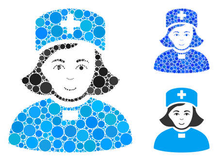 Church female doctor mosaic of small circles in variable sizes and color tones, based on church female doctor icon. Vector small circles are grouped into blue composition.