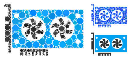 Dual GPU videocard mosaic of round dots in various sizes and color tones, based on dual GPU videocard icon. Vector round dots are united into blue illustration.