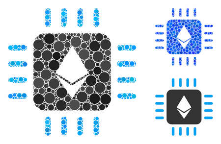 Ethereum processor chip mosaic of round dots in different sizes and color hues, based on Ethereum processor chip icon. Vector round dots are united into blue collage.