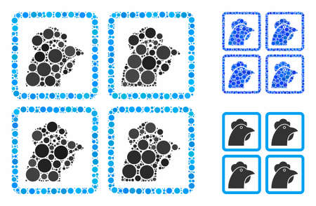 Chicken factory mosaic of round dots in various sizes and color tinges, based on chicken factory icon. Vector dots are united into blue composition.