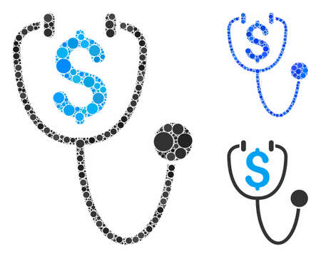 Dollar health mosaic of spheric dots in different sizes and color hues, based on dollar health icon. Vector circle elements are grouped into blue mosaic.