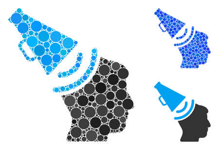 Propaganda megaphone mosaic of small circles in variable sizes and color tinges, based on propaganda megaphone icon. Vector small circles are grouped into blue mosaic.
