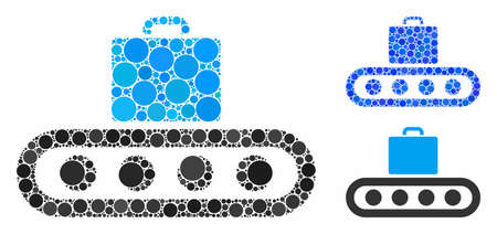 Luggage conveyor composition of small circles in different sizes and shades, based on luggage conveyor icon. Vector filled circles are combined into blue illustration. Фото со стока - 132505169