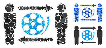 Men video exchange composition of round dots in various sizes and shades, based on men video exchange icon. Vector round elements are united into blue composition.
