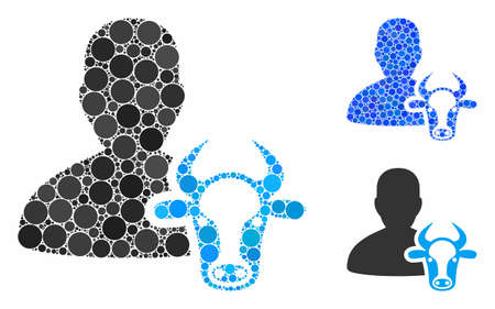Cow farmer composition of circle elements in variable sizes and color hues, based on cow farmer icon. Vector circle elements are united into blue collage.