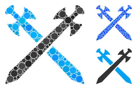 Medieval swords composition of small circles in variable sizes and color tinges, based on medieval swords icon. Vector small circles are grouped into blue composition.