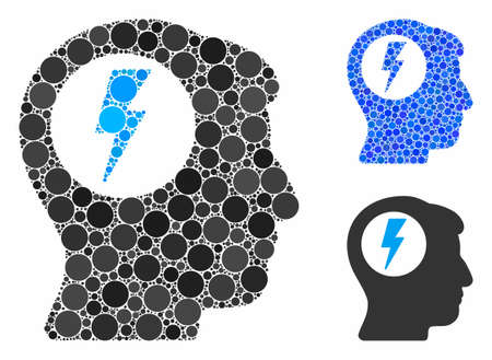Brain electric shock composition of circle elements in various sizes and color hues, based on brain electric shock icon. Vector circle elements are organized into blue collage.