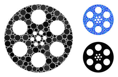 Reel composition of round dots in variable sizes and color hues, based on reel icon. Vector round dots are combined into blue composition. Dotted reel icon in usual and blue versions. Illustration