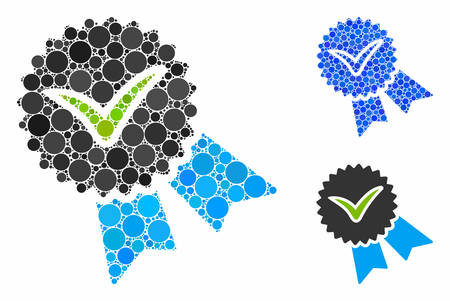 Quality badge composition of spheric dots in different sizes and color tints, based on quality badge icon. Vector random circles are combined into blue composition. Illustration