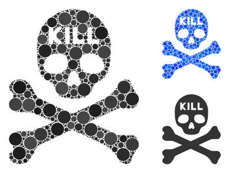 Kill death composition of small circles in variable sizes and color tones, based on kill death icon. Vector small circles are grouped into blue collage.