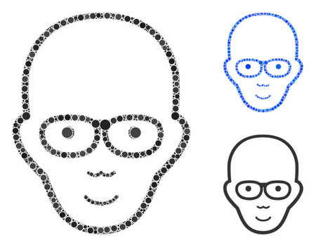 Bald head mosaic of small circles in various sizes and color tinges, based on bald head icon. Vector small circles are combined into blue illustration.