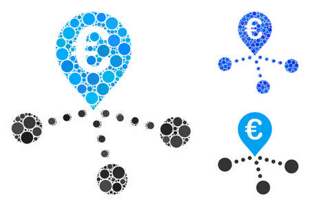 Euro bank branches composition of small circles in various sizes and color tints, based on euro bank branches icon. Vector small circles are combined into blue composition.