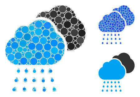 Rain clouds mosaic of round dots in different sizes and color tinges, based on rain clouds icon. Vector round dots are united into blue mosaic. Dotted rain clouds icon in usual and blue versions.