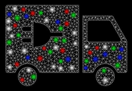 Bright mesh electric car with glare effect. White wire frame polygonal mesh in vector format on a black background. Abstract 2d mesh built from polygonal grid, round dots, colorful glare spots.