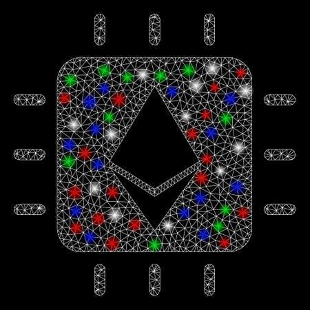 Bright mesh Ethereum crystal chip with glow effect. White wire carcass polygonal mesh in vector format on a black background. Abstract 2d mesh created from polygonal grid, points, colored light spots.