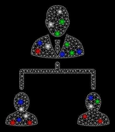 Bright mesh human hierarchy with lightspot effect. White wire frame polygonal mesh in vector format on a black background. Abstract 2d mesh built from polygonal grid, spheric points,