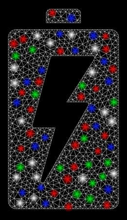 Bright mesh battery with glow effect. White wire frame polygonal mesh in vector format on a black background. Abstract 2d mesh designed with polygonal grid, points, colorful flare spots. Illusztráció