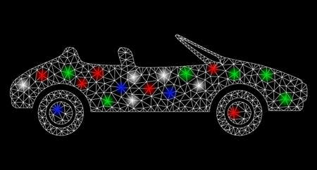 Bright mesh cabriolet with glow effect. White wire frame polygonal mesh in vector format on a black background. Abstract 2d mesh designed with polygonal grid, round dots, colored flare spots. Vettoriali