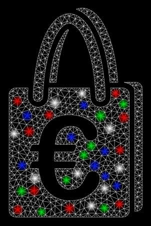 Bright mesh Euro shopping bag with lightspot effect. White wire carcass polygonal mesh in vector format on a black background. Abstract 2d mesh designed with polygonal grid, round dots, Illustration