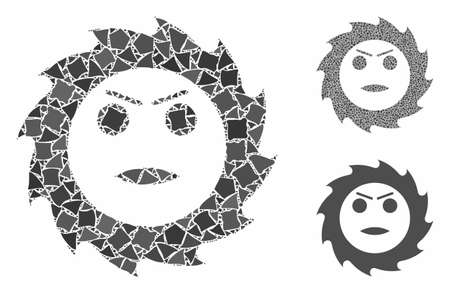 Gear angry smiley composition of tremulant elements in variable sizes and color hues, based on gear angry smiley icon. Vector tremulant items are grouped into collage.