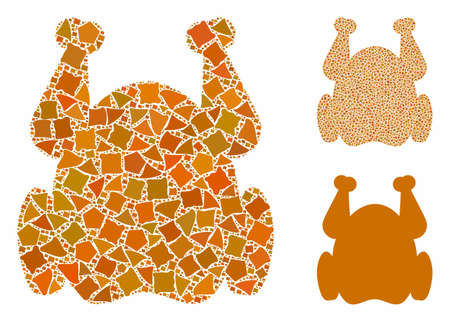 Chicken mosaic of raggy parts in various sizes and color tinges, based on chicken icon. Vector raggy parts are united into mosaic. Chicken icons collage with dotted pattern.