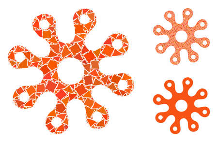 Virus composition of inequal parts in different sizes and color hues, based on virus icon. Vector uneven items are united into collage. Virus icons collage with dotted pattern.