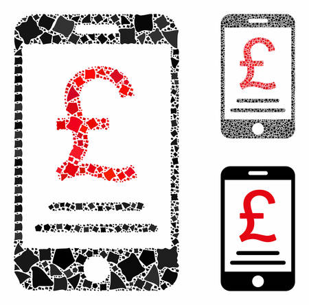 British Pound mobile payment mosaic of irregular elements in variable sizes and color tints, based on British Pound mobile payment icon. Vector rough items are composed into mosaic.