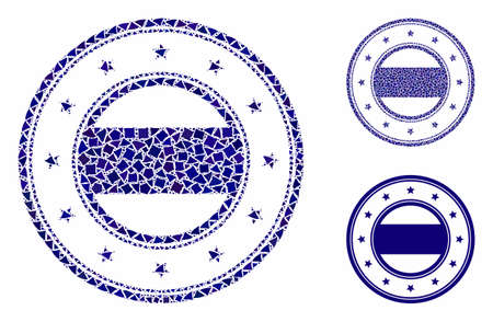 Double round starred frame mosaic of abrupt pieces in different sizes and color tones, based on double round starred frame icon. Vector humpy pieces are grouped into collage.