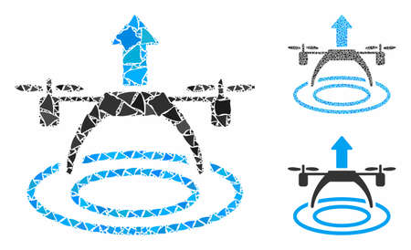 Copter start composition of abrupt pieces in variable sizes and color tones, based on copter start icon. Vector abrupt pieces are united into composition.