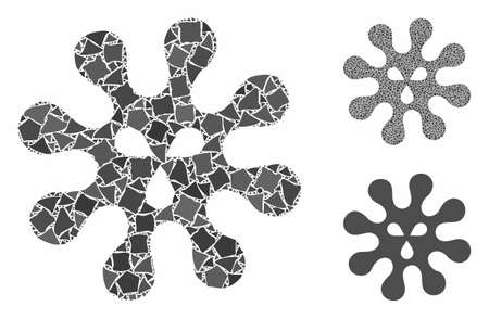 Virus composition of tremulant items in variable sizes and shades, based on virus icon. Vector trembly items are united into collage. Virus icons collage with dotted pattern.