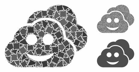 Smile clouds composition of tremulant elements in different sizes and color hues, based on smile clouds icon. Vector humpy elements are composed into illustration.