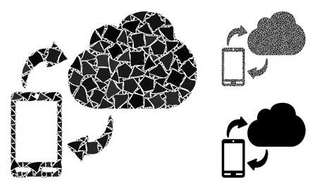 Sync phone-cloud mosaic of inequal parts in variable sizes and color hues, based on sync phone-cloud icon. Vector uneven parts are combined into collage. Illustration