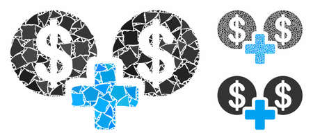 Sum money mosaic of humpy items in different sizes and color tinges, based on sum money icon. Vector humpy parts are united into collage. Sum money icons collage with dotted pattern. Illustration
