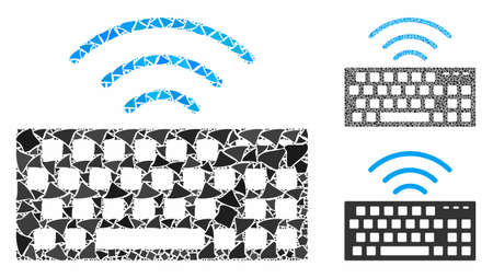 Wireless keyboard composition of raggy pieces in variable sizes and color tones, based on wireless keyboard icon. Vector tuberous pieces are united into composition.