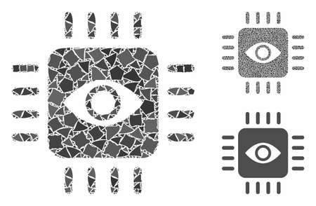 Bionic eye processor mosaic of uneven pieces in different sizes and color tones, based on bionic eye processor icon.