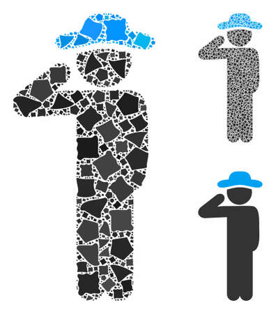 Gentleman salute mosaic of rough parts in variable sizes and color hues, based on gentleman salute icon.