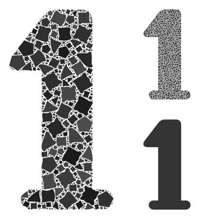 Digit one mosaic of bumpy elements in various sizes and shades, based on digit one icon. Vector unequal elements are organized into collage. Digit one icons collage with dotted pattern.