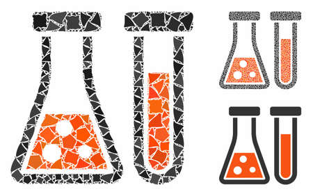 Chemistry composition of irregular items in variable sizes and color tones, based on chemistry icon. Vector tuberous items are organized into collage. Chemistry icons collage with dotted pattern.