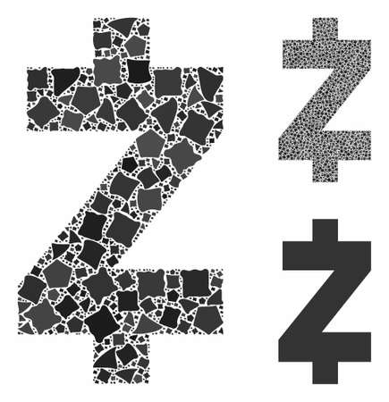 Zcash mosaic of irregular elements in variable sizes and color tones, based on Zcash icon. Vector uneven elements are composed into mosaic. Zcash icons collage with dotted pattern.