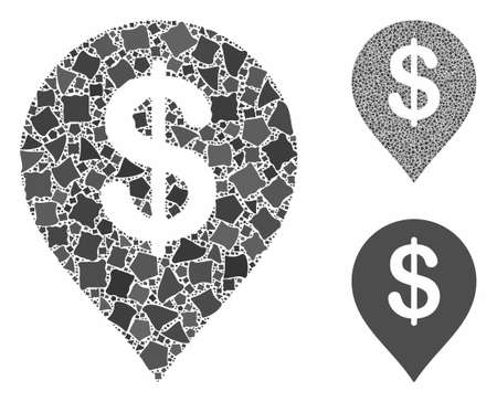 Financial composition of uneven parts in variable sizes and color tinges, based on financial icon. Vector uneven elements are combined into collage. Financial icons collage with dotted pattern.