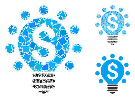 Business patent bulb mosaic of uneven pieces in various sizes and color tones, based on business patent bulb icon. Vector humpy pieces are grouped into mosaic. Stock Vector - 132570879