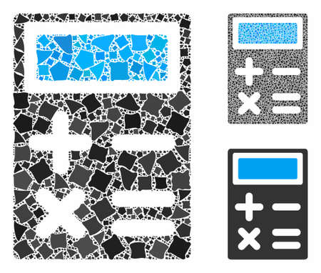 Calculator composition of rugged parts in variable sizes and color tones, based on calculator icon. Vector trembly parts are organized into composition. Calculator icons collage with dotted pattern.
